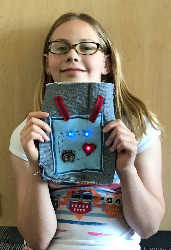 Student demonstrates tech project